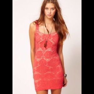 Coral Free People Medallion Dress - worn once!